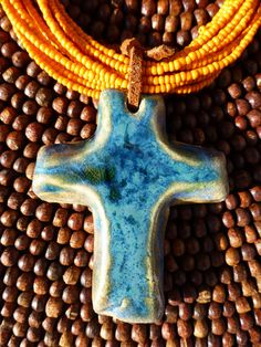 Large Turquoise Pottery Cross Necklace by RTC Pottery #crosses #handmadecrosses #crossnecklaces