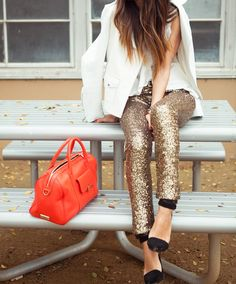 Sequined Gold Silver Leggings Glitter Pants