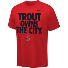 Mike Trout Red Nike  Los Angeles Angels of Anaheim Trout Owns The City. Player T-Shirt $27.99 http://www.fansedge.com/Mike-Trout-Red-Nike-27-Los-Angeles-Angels-of-Anaheim-Trout-Owns-The-City-Player-T-Shirt-_-1519810819_PD.html?social=pinterest_pfid28-61971