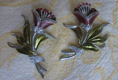 Pair Vintage CORO Flower Fur Clips or Dress by CornermouseHouse