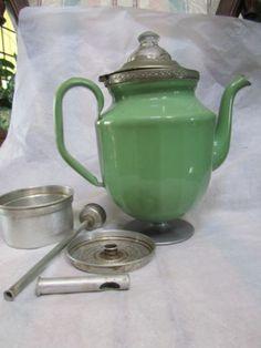 Antique-Vintage-Enamel-w-Pewter-Coffee-Pot-Peculator-Green-Enamelware-Sold For $64.90.