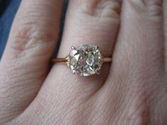 Old Mine Brilliant diamond in 18k rose gold ring, plat head