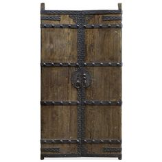 Vintage Chinese Wood and Iron Doors. Standing at nearly 8 feet tall, these antique wooden doors were recovered from a village in Northern China. Still retaining their original hand forged hardware with an iron locking mechanism, this set of doors carries a unique personality and charm reminiscent of the old world. An antique finish is complemented with studded iron junctions, making for a heavy and solid construction that will last for generations. Asian style doors.