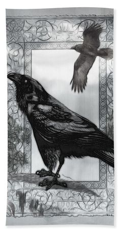 Goth Beach Towel featuring the digital art Gothic Victorian Raven Mixed Media…