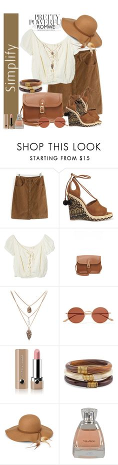 """""""Brown Corduroy Skirt"""" by manuela-cdl ❤ liked on Polyvore featuring Aquazzura, Jens Pirate Booty, The Cambridge Satchel Company, Oliver Peoples, Marc Jacobs, Chico's, Steve Madden, Vera Wang and romwe"""