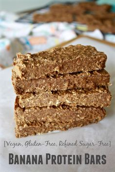 These Banana Protein Bars are perfect for on-the-go breakfast! [Fit Mitten Kitchen]
