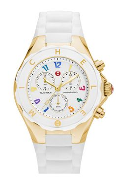 MICHELE 'Tahitian Jelly Bean Carousel' 40mm Gold Watch available at Nordstrom