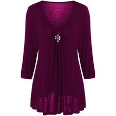 Plus Size V Neck Rhinestone Decorated Blouse (320 UYU) ❤ liked on Polyvore featuring tops, blouses, embellished top, purple plus size tops, plus size v neck tops, v neck tops and rhinestone tops