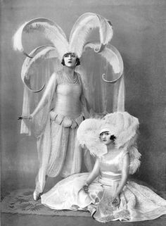 The Dolly Sisters in their bridal attire by Paul Poiret from League of Notions, New Oxford Theatre, London, 1921