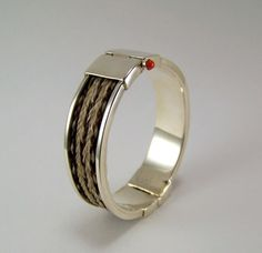 LOUISE ELLIS Braided Horse Hair Hinged Bangle Bracelet Sterling w/ Coral Small #LouiseEllis #HingedBangle #esmesdrawer #horsehair #jewelry