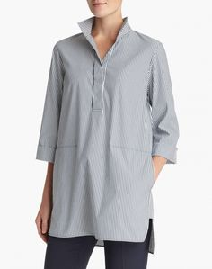 Lafayette 148 - admiral blue multi freeport stripe shirting desirae blouse