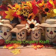 Scarecrow familyfall decor mom dad girls and boys Create your own scarecrow family mason jar set! Fall Mason Jars, Mason Jar Crafts, Mason Jar Diy, Bottle Crafts, Halloween Mason Jars, Diy Bottle, Autumn Crafts, Thanksgiving Crafts, Holiday Crafts