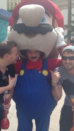 Was in Vegas last weekend, ran into a guy wearing the Super Mario costume. Stopped to take a picture and talk with him for a minute. Lifted up his mask to respond to us. Immediately asked for pictures of him without the mask on.