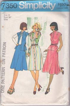 MOMSPatterns Vintage Sewing Patterns - Simplicity 7350 Vintage 70's Sewing Pattern DANDY Asian Influenced Nehru Collar Pin Tucks Shoulders Tunic Top, Front Buttoned Dress & Flared Skirt Size 12