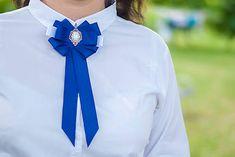 AnettSoutache / Brošňa pod golier Maissa - modrá