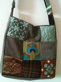 tweed, tapestry and quilted patchwork bag by artventures community arts, via Flickr