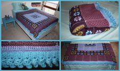 Purple and Blue Crochet Granny Square Blanket by sapphiresphinx.deviantart.com on @deviantART
