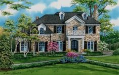 """Created by Custom House Portraits by Richelle Flecke, this 9"""" x 14"""" watercolor portrays a stone home in Winnetka, Illinois. The client provided Richelle photos to work from, and even though they were taken in winter, she was able to create a lovely summer season landscape in full bloom. If you would like Richelle to do the same for yours or a loved one's home, call her at 314-892-9221. Winnetka Illinois, House Illustration, Arched Windows, Urban Sketchers, Stone Houses, Watercolor Portraits, French Doors, Custom Homes, Home Art"""