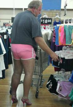 LOOKS LIKE HE'S LOOKING FOR A NEW PAIR OF SHORTS....I hope this is photo shop n noone actually would do this