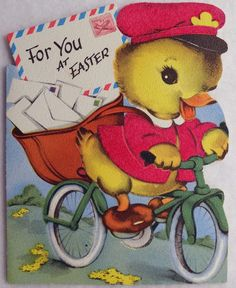 108 Ducky Is A Mailman on A Bicycle Vintage Easter Die Cut Greeting Card | eBay
