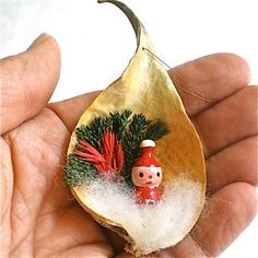 Christmas, Ornament, Vintage, Santa, Milkweed, Pod, 1950s. $7.95, via Etsy.