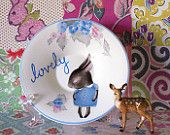 Lovely Little Blue Shy Bunny Vintage Illustrated Plate or Trinket Dish