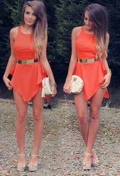 bdcc4b5ff5effe Cute orange poccahontis dress Cute Summer Dresses, Cute Dresses, Beautiful  Dresses, Summer Clothes