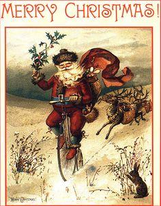 Santa Rides a Bike-Bunny is Shocked!