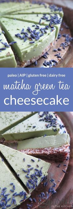 No bake matcha green tea cheesecake dairy free gluten free paleo aip 22 unique apple recipes snacks desserts healthy lifestyle Dessert Sans Gluten, Bon Dessert, Low Carb Dessert, Paleo Dessert, Gluten Free Desserts, Healthy Desserts, Dessert Recipes, Green Tea Dessert, Healthy Recipes