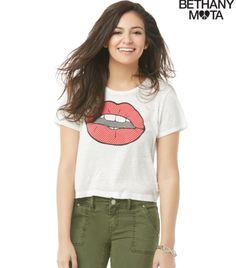 NWT Aeropostale Vote For Bethany Mota Cropped Graphic T Shirt White Top Tee NEW