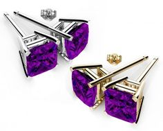 Rhodium Plated Amethyst Color 2 Pair 6mm Stud Earrings made with Swarovski Crystals. #Glimmering #swarovskistudearrings #swarovskistuds #swarovskiearrngsstuds #birthstonestudearringsswarovski #austriancrystalearringsstuds  Shop Now: http://www.glimmering.co.in/earrings/swarovski-stud-earrings.html