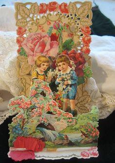 Vintage Valentine's Valentine Day German Stand Up Card...Girl Boy ROSES