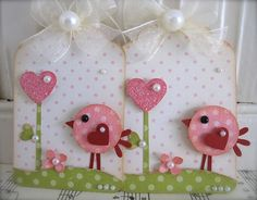 Shabby Pink Polka dot Cute Birdie Glitter Heart Tags by vsroses, $3.49