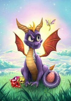Spyro the Dragon by Zietro - Gamer House Ideas 2019 - 2020 Fantasy Dragon, Dragon Art, Fantasy Art, Spyro The Dragon, Baby Dragon, Spyro And Cynder, Retro Tattoos, Dragon Pictures, Dragon Pics