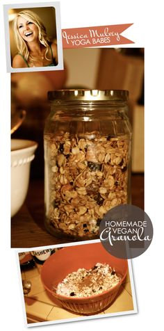 Homemade Vegan Granola from Yoga Babes -- this is in my oven right now and it smells A-mazing! Lower temp from 350 degrees though, burned after first 10 minutes.