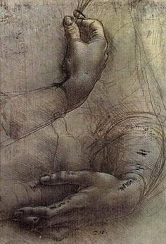 Page: Study of Arms and Hands, a sketch by da Vinci popularly considered to be a preliminary study for the painting 'Lady with an Ermine'  Artist: Leonardo da Vinci  Place of Creation: Italy  Style: High Renaissance  Genre: sketch and study  Technique: chalk  Material: paper