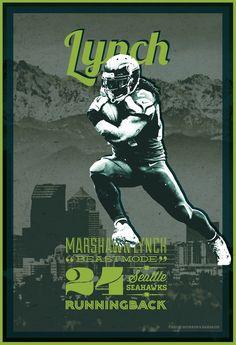 Marshawn Lynch   Seattle Seahawks   12th Man  Football Poster by Bourbon & Bandaids @ http://on.fb.me/15kmZKl