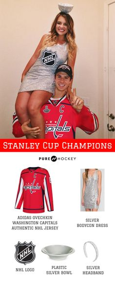 Washington Capitals Stanley Cup Champions Hockey Halloween Costume for Couples! Unique Couple Halloween Costumes, Halloween Kostüm, Halloween Couples, Unique Couples Costumes, Halloween Outfits, Stanley Cup Costume, Hot Hockey Players, Nhl Players, Hockey Teams