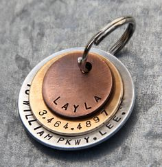 Custom Pet ID Tag - Layla - in Layered Mixed Metal (Copper, Bronze, Aluminum). $25.00, via Etsy.