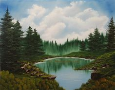 Overlooking The Lake Original Landscape Oil Painting