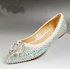 2015 Free Shipping Rhinestone Flat Heels Wedding Shoes Sparkling Bridesmaid Shoes Comfortable Flat Heel Party Prom Dancing Shoes(China (Mainland))