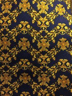 Mens GIANNI VERSACE  Blue Gold Silk Tie  Neiman Marcus Handmade in Spain #GianniVersace #NeckTie
