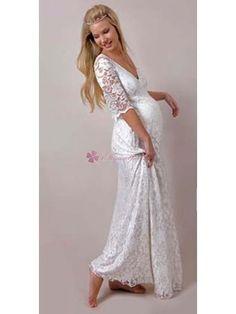 Elegant Floor-Length V-Neck Half Sleeve Lace Maternity Wedding Dress