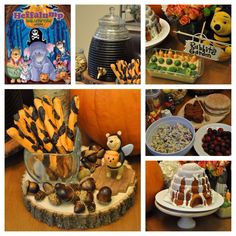 """Disney Dinner and a Movie Night ~ Winnie the Pooh """"Pooh's Heffalump Halloween Movie"""" Party. We had Pooh's honey chicken salad in Kanga and Roo's pita pocket pouches, honey tea or apple juice, Rabbit's garden vegetables in hummus, pumpkin bread in honeycomb shapes and Lumpy's purple lump grapes. For dessert - a vanilla honey beehive cake and the snack during the movie was Hundred Acre Wood trail mix and Tiger tails (pretzel rods dipped in colored chocolate.)"""