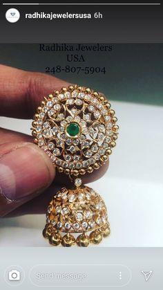 Gold Jhumka Earrings, Jewelry Design Earrings, Gold Earrings Designs, Pink Jewelry, Jewelery, Gold Bangles Design, Gold Jewellery Design, Bridal Jewellery, Diamond Jewellery