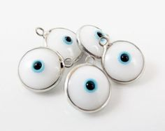 5 White Evil Eye Nazar Artisan Glass Bead Charms - Silver Plated Brass Bezel - GCM112