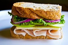 Apple and Smoked Cheddar Turkey Sandwich on Toasted Wheat French Bread.    Healthy Lunches, Happy Families Mommy Blogger Contest    #HealthyLunches
