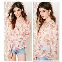 Wish | New Fashion Women Chiffon Blouse Vintage Floral Flounced Hem Single Breasted Long-Sleeved Shirt