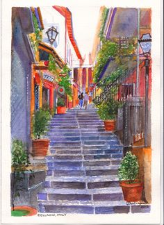 One of several narrow alleyways in Bellagio, Italy, leading down to Lake Como. These pedestrian streets are lined with apartments, fashion boutiques and cafes.    Watercolour painting by Dai Wynn on 300gsm medium surface Arches french cotton paper. 29cm X 21cm (11.75″ X 8.25″) approximately.  Available for sale at $210.