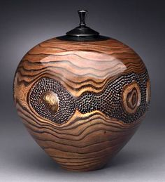 "Dixie Biggs, Artist, Dreamscape 2002, chinaberry, dyed cherry inset & lid, surface textured and color enhanced, 11""high x 8""diam #ArtonTap"